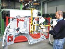 Pneumatic manipulator / positioning / for bodywork