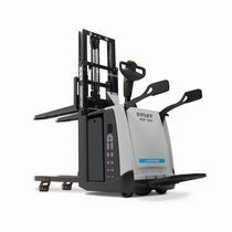 Electric stacker truck / with rider platform / stand-on / transport