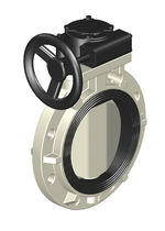 Manually-controlled butterfly valve / plastic