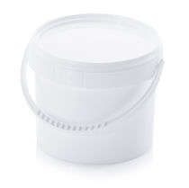 Round pail / with lid / plastic