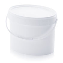 Oval pail / plastic / with lid