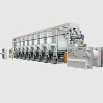 Rotogravure printing machine / multi-color / for labels / for cylindrical objects