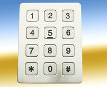 12-key keypad / panel-mount / stainless steel / custom
