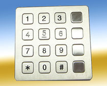 16-key keypad / panel-mount / stainless steel / rubber
