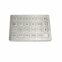 24-keys keypad / panel-mount / rubber / stainless steel
