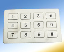 12-key keypad / panel-mount / rubber / stainless steel