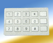 15-keys keypad / panel-mount / rubber / stainless steel