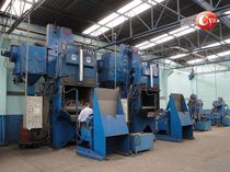 Roller shot blasting machine / for profiles / sheet metal / for metal
