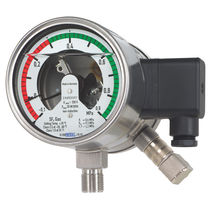 Dial pressure gauge / liquid-filled Bourdon tube / for SF6 / with electrical contact