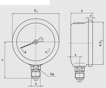 Analog pressure gauge / liquid-filled Bourdon tube / for gas / process