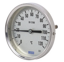 Bimetallic thermometer / analog / insertion / stainless steel