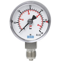 Analog pressure gauge / Bourdon tube / process / for gas
