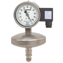 Analog pressure gauge / diaphragm / stainless steel / with electrical contact