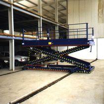 Scissor lift table / electric / rail-mounted