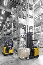 Battery-powered reach truck / side-facing seated / narrow-aisle / handling