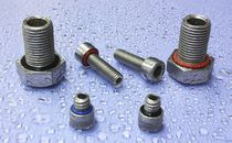 Screw with hexagonal head / leak-proofing / stainless steel