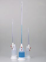 Titration burette / borosilicate glass / chemical-resistant / with splinter-proof sheathing