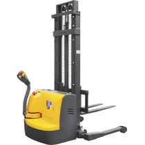 Electric stacker truck / walk-behind / for warehouses / straddle