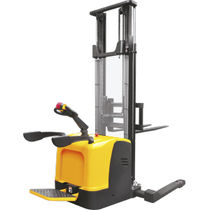 Electric stacker truck / with rider platform / stand-on / for pallets
