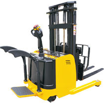 Electric stacker truck / with rider platform / for warehouses / narrow-aisle