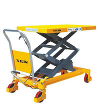 Double-scissor lift table / hydraulic / foot-operated / mobile