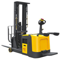 Electric stacker truck / with rider platform / stand-on / counterbalanced