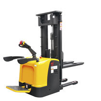 Electric stacker truck / with rider platform / stand-on / for warehouses