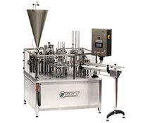 Liquid filling and sealing machine / for pre-formed containers