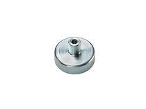 Flat pot holding magnet / neodymium / SmCo / with threaded insert