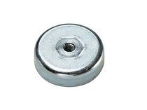 Flat pot holding magnet / ferrite / with internal thread