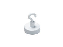 Flat pot holding magnet / ferrite / with threaded insert / with hook