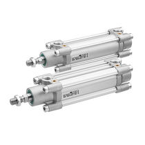 Pneumatic cylinder / with threaded rods / double-acting