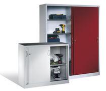 Sliding door cabinet / floor-standing / steel / tool