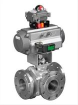 Ball valve / mixing / pneumatically-actuated / 3-way