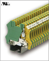 Quick-connect terminal block / DIN rail-mounted / grounding