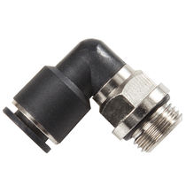 Threaded fitting / push-in / 90° angle / pneumatic