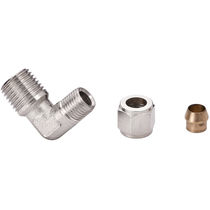 Compression fitting / threaded / push-to-lock / elbow
