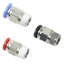 Push-in fitting / threaded / straight / pneumatic