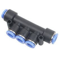 Push-in fitting / T / pneumatic / plastic