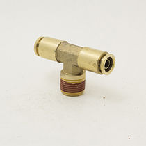 Push-in fitting / T / pneumatic / brass