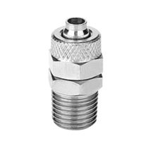 Threaded fitting / straight / pneumatic / brass