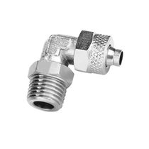 Threaded fitting / 90° angle / pneumatic / nickel-plated brass