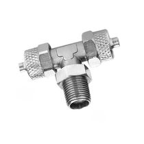 Threaded fitting / T / pneumatic / nickel-plated brass