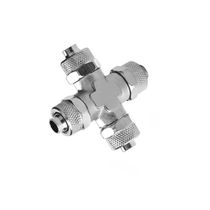 Threaded fitting / cross / pneumatic / nickel-plated brass