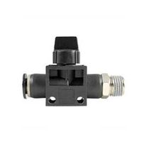 Threaded fitting / straight / pneumatic / with shutoff valve integrated