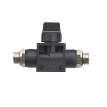 Push-in fitting / straight / pneumatic / with shutoff valve integrated