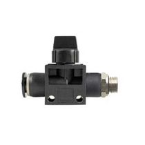 Push-to-lock fitting / straight / pneumatic / with shutoff valve integrated