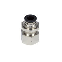 Push-in fitting / straight / for vacuum / nickel-plated brass