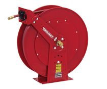 Hose reel / self-retracting / fixed / dual-pedestal