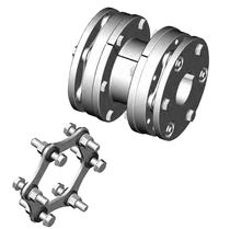 Torsionally rigid coupling / disc / misalignment correction / with spacer